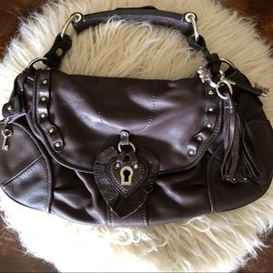 Chocolate brown leather Juicy Couture handbag